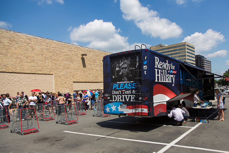 Hundreds line up outside of Costco,  where former Secretary of State Hillary Clinton attends a signing her new book, 'Hard Choices: A Memoir,' in Arlington, VA.   The Ready for Hillary bus is part of a nationwide tour to promote the new memoir that includes  book signings, speeches & media interviews.