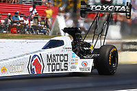 May 14, 2016; Commerce, GA, USA; NHRA top fuel driver Antron Brown during qualifying for the Southern Nationals at Atlanta Dragway. Mandatory Credit: Mark J. Rebilas-USA TODAY Sports