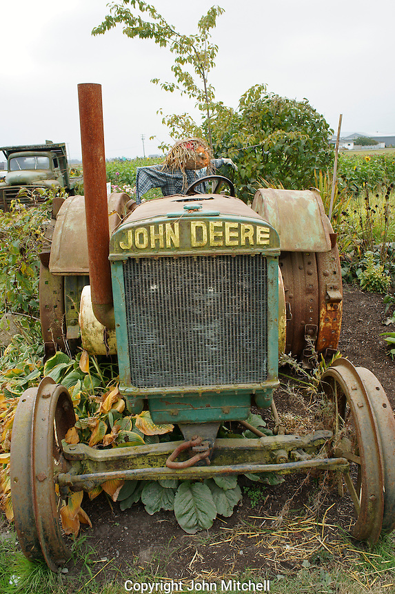 Old John Deere tractor at a farm in Ladner, British Columbia, Canada