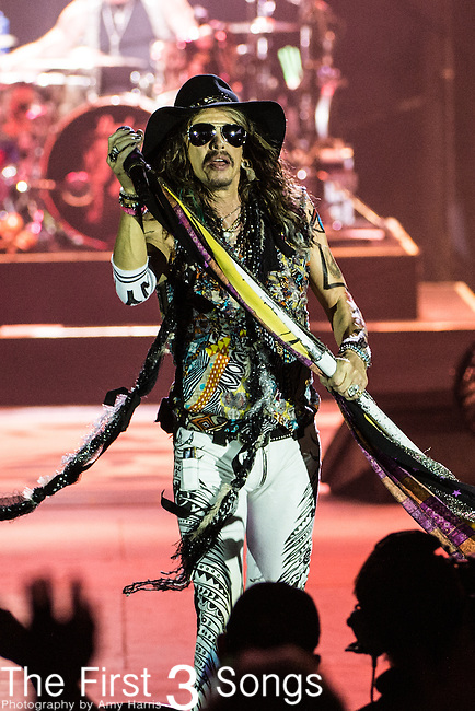 Steven Tyler of Aerosmith performs at Riverbend Music Center in Cincinnati, Ohio.