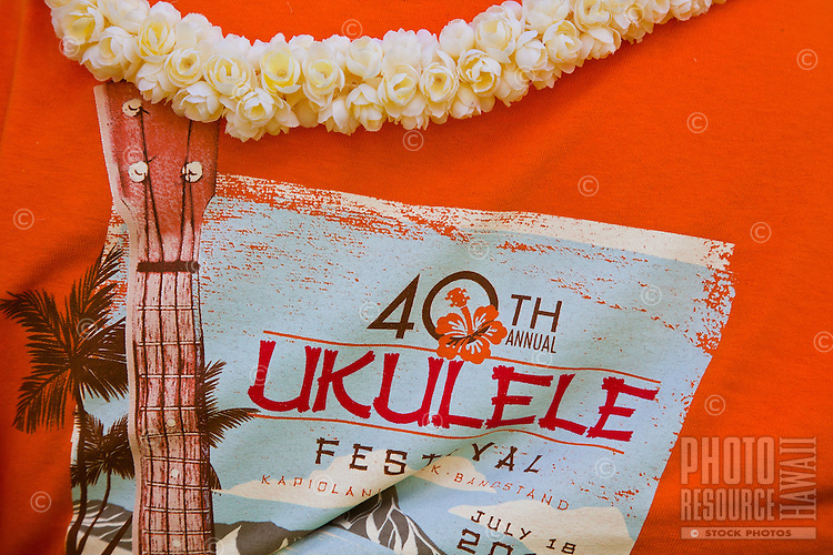 Official T-shirt of the 40th Annual Ukulele Festival at Kapiolani Park