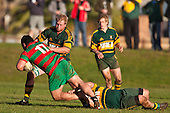 William Crisp moves in as Michael Porter brings Ra Garmonsway to ground. Counties Manukau Premier Club Rugby game between Pukekohe and Waiuku played at Colin Lawrie Fields, Pukekohe, on Saturday July 3rd 2010. Pukekohe won 31 - 12 after leading 15 - 9 at halftime.