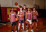 WATERBURY, CT. 16 March 2018-031618BS25 - The Sacred Heart starting five pose for a photo before the finals of the Div 1 Sate Championships on Sunday at Sacred Heart High School on Friday afternoon. Bill Shettle Republican-American