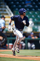 Charlotte Stone Crabs center fielder Jake Fraley (23) runs to first base during a game against the Bradenton Marauders on April 9, 2017 at LECOM Park in Bradenton, Florida.  Bradenton defeated Charlotte 5-0.  (Mike Janes/Four Seam Images)