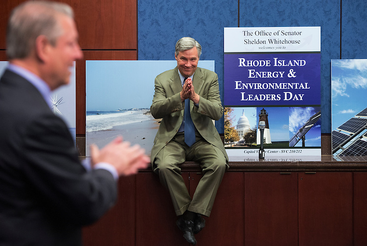 UNITED STATES - JUNE 11: Sen. Sheldon Whitehouse, D-R.I.,, right, recognizes former Vice President Al Gore before Gore delivered a speech about the environment during the Fourth Annual Rhode Island Energy and Environmental Leaders Day held in the Capitol Visitor Center. (Photo By Tom Williams/CQ Roll Call)