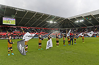 Guard of Honour during the Premier League game between Swansea City v Chelsea at the Liberty Stadium, Swansea, Wales, UK. Saturday 28 April 2018