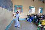 Five-year old Saloma Nyandeng Duot leads her classmates in learning the alphabet on April 13, 2017, in an early childhood development center in Panyagor, a town in South Sudan's Jonglei State. <br /> <br /> The Lutheran World Federation, a member of the ACT Alliance, is helping families in the region, which is torn by both war and drought, to educate their children, with a special focus on insuring that girls enter and remain in school.<br /> <br /> Parental consent obtained for main subject.