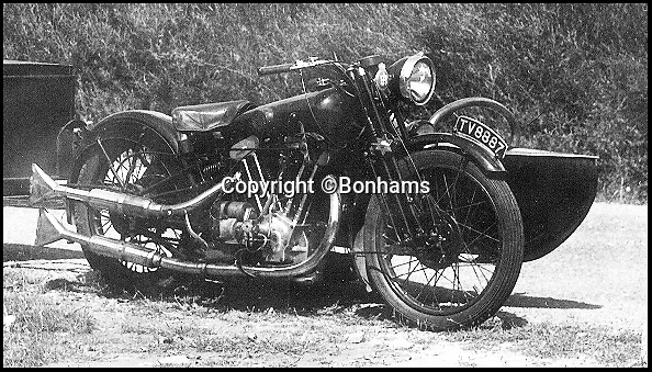 Bournemouth News (01202 558833)<br /> Pic: Bonhams/BNPS<br /> <br /> The machine in the 1960's fitted with a Petrol Tube Sidecar.<br /> <br /> A woman who paid £33 for a second-hand motorbike 55 years ago is now set to sell it for £180,000.<br /> <br /> Jean Knight purchased the 1933 Brough Superior SS100 in 1963 to use for her daily commute as a college lecturer in London.<br /> <br /> She stopped riding the old bike at the request of her husband after having two children in the 1970s.