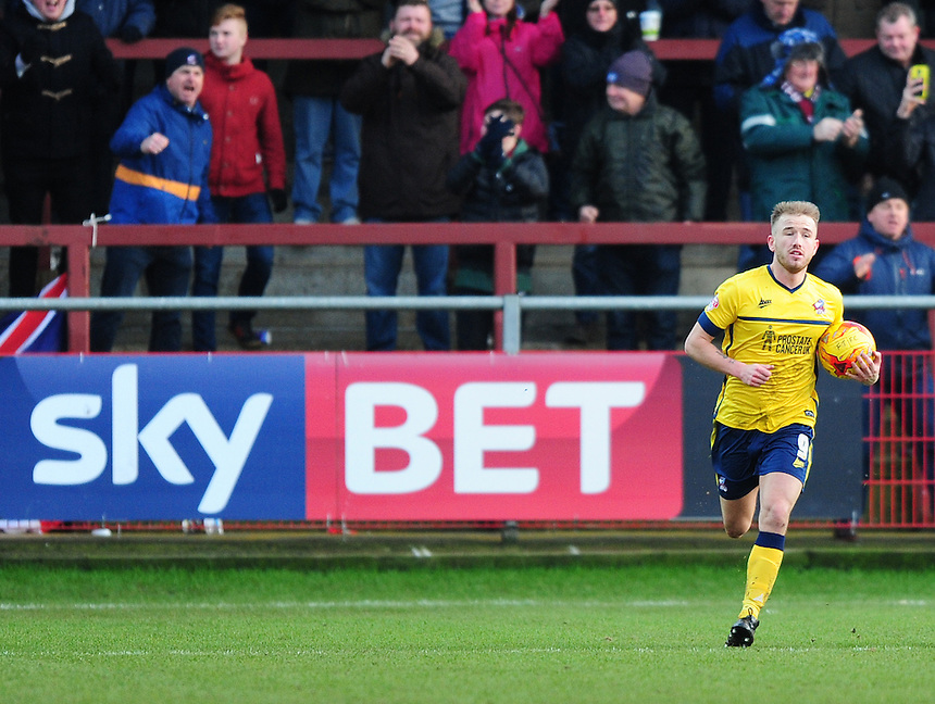 Scunthorpe United's Paddy Madden celebrates scoring his sides consolation goal from the penalty spot<br /> <br /> Photographer Chris Vaughan/CameraSport<br /> <br /> Football - The Football League Sky Bet League One - Fleetwood Town v Scunthorpe United  - Saturday 20th February 2016 - Highbury Stadium - Fleetwood    <br /> <br /> &copy; CameraSport - 43 Linden Ave. Countesthorpe. Leicester. England. LE8 5PG - Tel: +44 (0) 116 277 4147 - admin@camerasport.com - www.camerasport.com