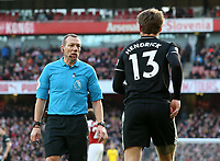 Referee Kevin Friend warns Burnley's Jeff Hendrick<br /> <br /> Photographer David Shipman/CameraSport<br /> <br /> The Premier League - Arsenal v Burnley - Saturday 22nd December 2018 - The Emirates - London<br /> <br /> World Copyright © 2018 CameraSport. All rights reserved. 43 Linden Ave. Countesthorpe. Leicester. England. LE8 5PG - Tel: +44 (0) 116 277 4147 - admin@camerasport.com - www.camerasport.com