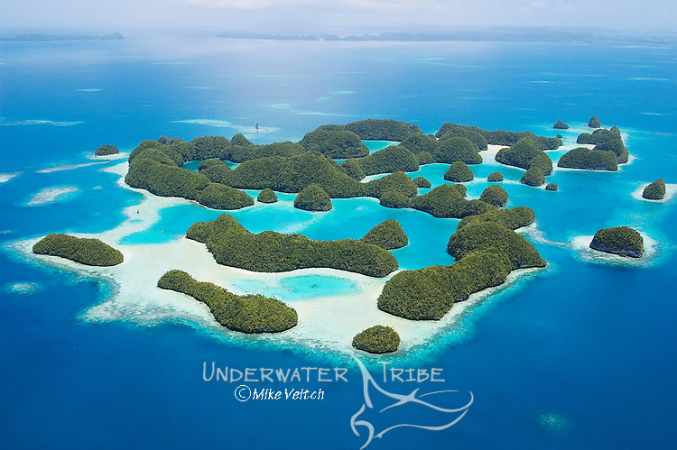 Aerial view of 70 Islands Nature Reserve, a protected area for nesting turtles, Rock Islands, Palau, Micronesia, Pacific Ocean