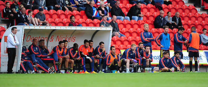 The Middlesbrough bench during the first half against Doncaster Rovers<br /> <br /> Photographer Chris Vaughan/CameraSport<br /> <br /> Football - Pre-Season Friendly - Doncaster Rovers v Middlesbrough - Saturday 25th July 2015 - Keepmoat Stadium, Doncaster<br /> <br /> &copy; CameraSport - 43 Linden Ave. Countesthorpe. Leicester. England. LE8 5PG - Tel: +44 (0) 116 277 4147 - admin@camerasport.com - www.camerasport.com