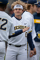 Michigan Wolverines catcher Joe Donovan (0) before the the NCAA baseball game against the Michigan State Spartans on May 7, 2019 at Ray Fisher Stadium in Ann Arbor, Michigan. Michigan defeated Michigan State 7-0. (Andrew Woolley/Four Seam Images)