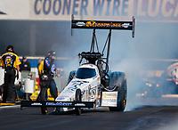 Feb 11, 2019; Pomona, CA, USA; NHRA top fuel driver Austin Prock during the Winternationals at Auto Club Raceway at Pomona. Mandatory Credit: Mark J. Rebilas-USA TODAY Sports