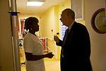 Dr Jean-Pierre Droz, Oncology unit, Centre Leon Berard, Lyon, France. The doctor with Liliane Dinga, femme de service.