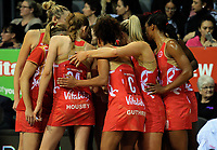 The Roses huddle during the Taini Jamieson Trophy Series netball match between the New Zealand Silver Ferns and England Roses at Claudelands Arena in Hamilton, New Zealand on Wednesday, 13 September 2017. Photo: Dave Lintott / lintottphoto.co.nz