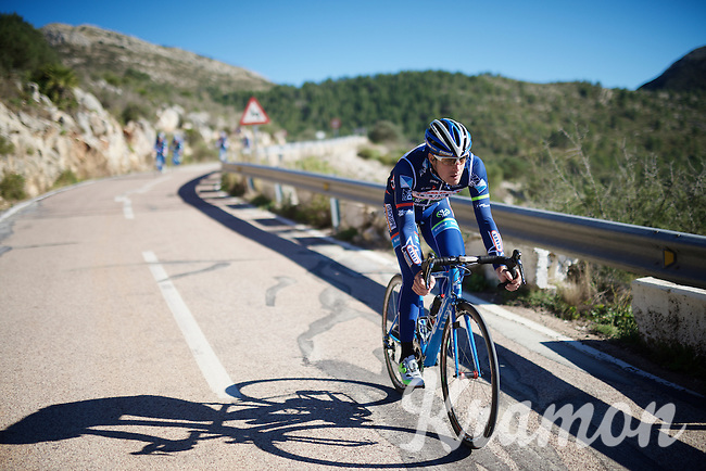 Boris Dron (BEL/Wanty-Groupe Gobert) descending the Coll de Rates<br /> <br /> Pro Cycling Team Wanty-Groupe Gobert <br /> <br /> Pre-season Training Camp january 2016