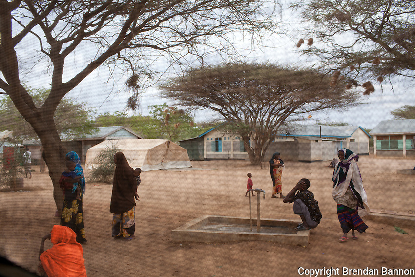 Patients in the common area of the MSf hospital in Dadaab refugee camp.