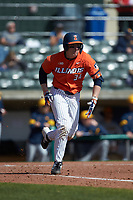 Alex Steinbach (34) of the Illinois Fighting Illini hustles down the first base line against the West Virginia Mountaineers at TicketReturn.com Field at Pelicans Ballpark on February 23, 2020 in Myrtle Beach, South Carolina. The Fighting Illini defeated the Mountaineers 2-1.  (Brian Westerholt/Four Seam Images)