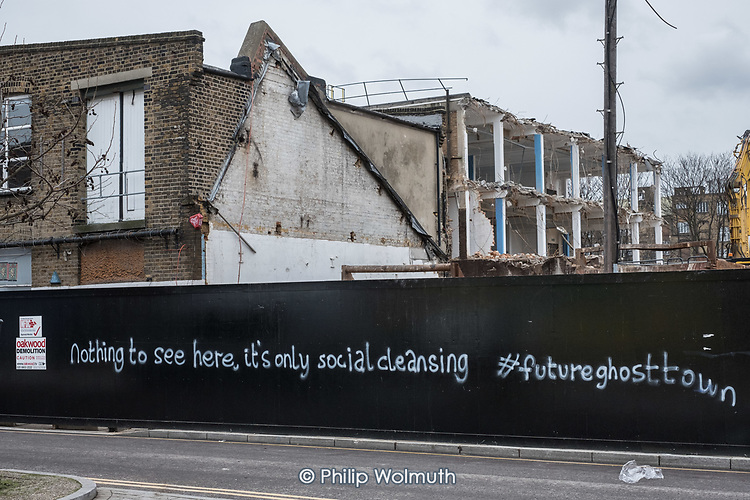 It's Only Social Cleansing.  Graffiti on a demolition site in Hackney Wick, a former light industrial area undergoing rapid gentrification.