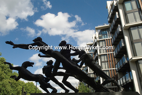 "One Hyde Park, Knightsbridge London.  Sculpture by Sir Jacob Epstein, know as the Edinburgh Gate sculpture, called  ""The Rush of Green""."