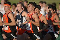 Oct 19, 2013; La Mirada, CA, USA; John Guzman of Occidental places second in the mens race in 25:27 in the SCIAC multi-dual meet at La Mirada Park. Photo by Kirby Lee John Guzman Aguilar