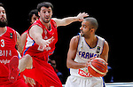France's Tony Parker (R) vies with Serbia's Stefan Markovic (L) during European championship basketball match for third place between France and Serbia on September 20, 2015 in Lille, France  (credit image & photo: Pedja Milosavljevic / STARSPORT)