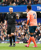 Everton's Mason Holgate questions Referee Kevin Friend decision to not give a yellow card<br /> <br /> Photographer Stephanie Meek/CameraSport<br /> <br /> The Premier League - Chelsea v Everton - Sunday 8th March 2020 - Stamford Bridge - London<br /> <br /> World Copyright © 2020 CameraSport. All rights reserved. 43 Linden Ave. Countesthorpe. Leicester. England. LE8 5PG - Tel: +44 (0) 116 277 4147 - admin@camerasport.com - www.camerasport.com