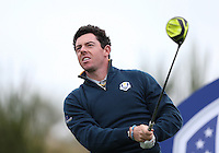 Rory McIlroy (EUR) during the first practice day ahead of the 2014 Ryder Cup at Gleneagles, Perthshire, Scotland 26th to 28th September 2014. Picture David Lloyd / www.golffile.ie.