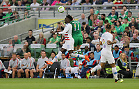 Dublin, Ireland - Saturday June 02, 2018: Tim Weah, James McClean during an international friendly match between the men's national teams of the United States (USA) and Republic of Ireland (IRE) at Aviva Stadium.