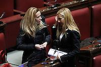 Manuela Repetti e Michaela Biancofiore.Roma 31/01/2012 Voto finale alla Camera dei Deputati sul Decreto Milleproroghe.Foto Insidefoto Serena Cremaschi