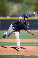 Colorado Rockies pitcher Rayan Gonzalez (32) during an Instructional League game against the Los Angeles Angels of Anaheim on October 6, 2016 at the Tempe Diablo Stadium Complex in Tempe, Arizona.  (Mike Janes/Four Seam Images)