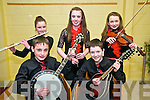 Scoir Na bPaisti, Chiarrai Thuaidh: Members of the Tarbert Instrumental  group that took part in Scoir na bPaisti in the Tintean Theatre, Ballybunion on Sunday afternoon last. Front:Adam Mahony & Brion Creegan. Back : Gillian Musgrave, Kate Stack & Niamh O'Carroll.