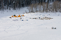 An aerial view of the Eagle Island checkpoint on the Yukon River taken during Iditarod 2009