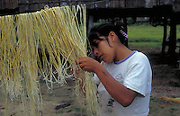 Children making rope with fiber of tree Astrocarium chambira burret