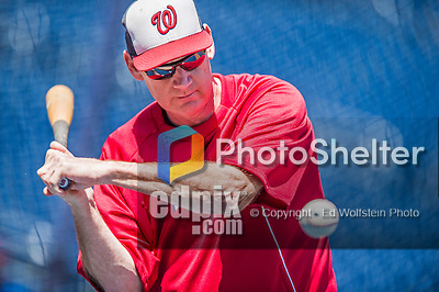 1 June 2014: Washington Nationals Manager Matt Williams taps out grounders to warm up his infielders prior to a game against the Texas Rangers at Nationals Park in Washington, DC. The Nationals defeated the Rangers 10-2 to sweep their 3-game inter-league series. Mandatory Credit: Ed Wolfstein Photo *** RAW (NEF) Image File Available ***