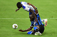 Romelu Lukaku of FC Internazionale and Omar Colley of Sampdoria compete for the ball during the Serie A football match between FC Internazionale and UC Sampdoria at Stadio San Siro in Milano ( Italy ), June 21th, 2020. Play resumes behind closed doors following the outbreak of the coronavirus disease. <br /> Photo Image/Insidefoto