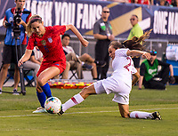 PHILADELPHIA, PA - AUGUST 29: Morgan Brian #6 of the United States moves past Monica Mendes #2 of Portugal during a game between Portugal and the USWNT at Lincoln Financial Field on August 29, 2019 in Philadelphia, PA.