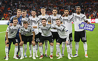 Mannschaftsfoto hinten:Torwart Manuel Neuer (Deutschland Germany), Toni Kroos (Deutschland Germany), Mark Uth (Deutschland Germany), Matthias Ginter (Deutschland Germany), Mats Hummels (Deutschland Germany), Emre Can (Deutschland, Germany), Jerome Boateng (Deutschland Germany), vorn: Joshua Kimmich (Deutschland, Germany), Thomas Mueller (Deutschland Germany), Jonas Hector (Deutschland Germany), Timo Werner (Deutschland Germany) - 13.10.2018: Niederlande vs. Deutschland, 3. Spieltag UEFA Nations League, Johann Cruijff Arena Amsterdam, DISCLAIMER: DFB regulations prohibit any use of photographs as image sequences and/or quasi-video.