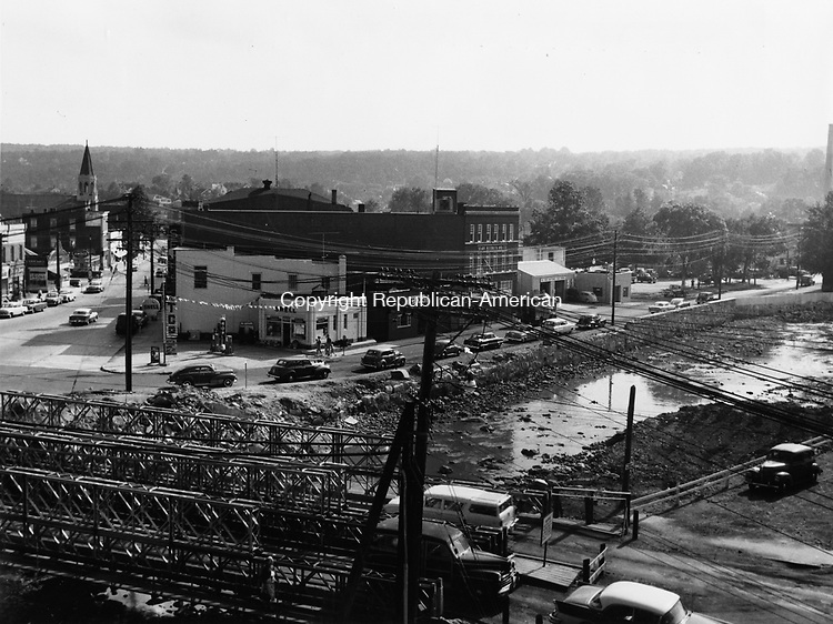 Center Square in Torrington one year after the August 1955 flood.