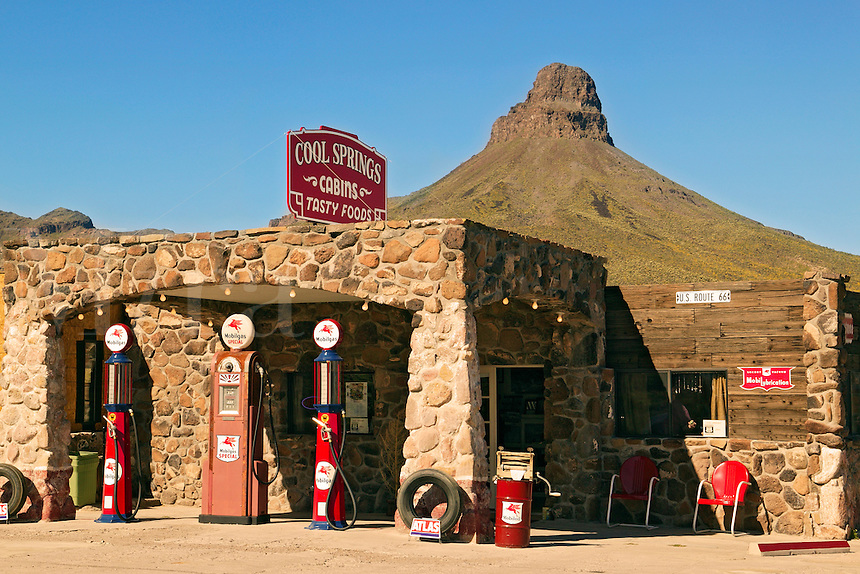 The restored Cool Springs gas station along Route 66, near Kingman, Arizona.