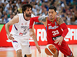 BELGRADE, SERBIA - JULY 04: David Huertas (R) of Puerto Rico in action against Milos Teodosic (L) of Serbia during the 2016 FIBA World Olympic Qualifying basketball Group A match between Serbia and Puerto Rico at Kombank Arena on July 04, 2016 in Belgrade, Serbia. (Photo by Srdjan Stevanovic/Getty Images)
