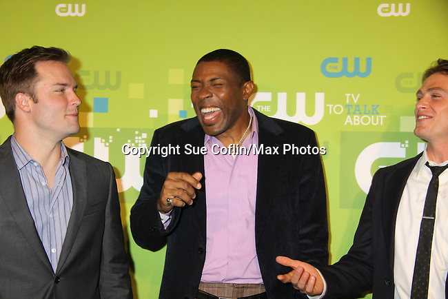 """Hart of Dixie - As The World Turns  Scott Porter """"Casey Hughes"""", Cress Williams and Wilson Bethel at the CW Upfront 2011 green carpet arrivals at Lincoln Center, New York City, New York on May 18, 2011. (Photo by Sue Coflin/Max Photos)"""