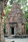 Angkorian temple Preah Ko at Roluos (late 9th century) 880.<br /> Brick towers.<br /> Preah Ko temple was built in the reign of Indravarma I. It was the first monument built at the site of Hariharalaya, the ancient capital city of the Khmers. Preah Ko temple was dedicated to the worship of Shiva.