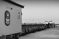 Fisherman's Restaurant and San Clemente Pier Black and White Photo