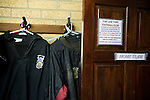 Tow Law Town 2 Heaton Stannington 2, 25.02.2014. Ironworks Road, Tow Law. Home team's kit hanging in the dressing room at the home of Tow Law Town, the Ironworks Road ground, before the club hosted Heaton Stannington in a Northern League division two fixture. It was the visitors first visit to Tow Law, having been promoted from the Northern Alliance last season. The match ended in a 2-2 draw, with the home team equalising in the last minute after having their goalkeeper sent off. Photo by Colin McPherson.