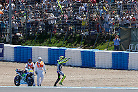 Valentino Rossi celebrating in MotoGP race in Motorcycle Championship GP, in Jerez, Spain. April 24, 2016