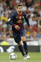 29.08.2012 Spain Supercopa, Real Madrid won (2-1) at Barcelona and was presented on goalaverage to win its ninth Supercopa of Spain) at Santiago Bernabeu stadium. The picture show Gerard Pique Bernabeu (Spanish defender of Barcelona)