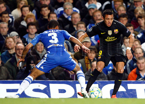 18.04.2012. Stamford Bridge, Chelsea, London. .Alexis Sanchez of  FC Barcelona  takes on Chelsea's Ashley Cole.during the Champions League Semi Final 1st  leg match between Chelsea and Barcelona  at Stamford Bridge, Stadium on April 18, 2012 in London, England......