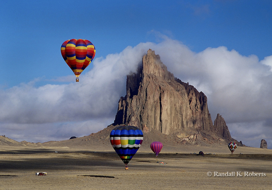 Hot air balloons over Shiprock, New Mexico